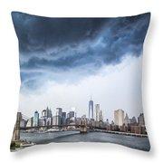 Thunderstorm Over Manhattan Downtown Throw Pillow
