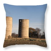 Thurber Dairy Silos Texas Throw Pillow