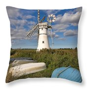 Thurne Dyke Windpump Norfolk Throw Pillow