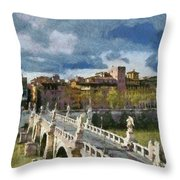 Tiber River In Rome Throw Pillow