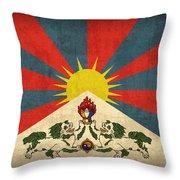 Tibet Flag Vintage Distressed Finish Throw Pillow