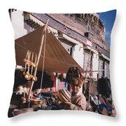 Tibet Market At Gyantse By Jrr Throw Pillow