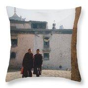 Tibet Monks 6 Throw Pillow