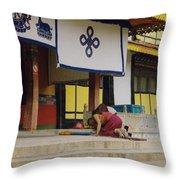 Tibet Prayer 1 Throw Pillow