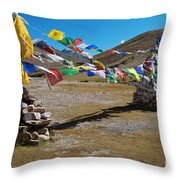 Tibetan Buddhist Prayer Flags Throw Pillow