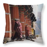 Tibetan Monks At Sera Throw Pillow