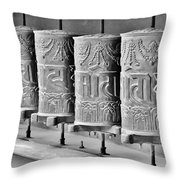 Tibetan Prayer Wheels - Black And White Throw Pillow