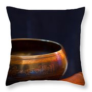 Tibetan Singing Bowl Throw Pillow