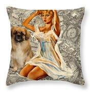 Tibetan Spaniel Art - Una Parisienne Throw Pillow