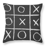 Tic-tac-toe On A Chalkboard Throw Pillow