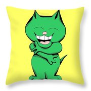 Tickle Cat Laughing Throw Pillow