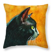 Black Cat In Profile Throw Pillow