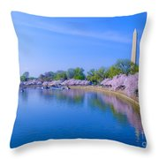 Tidal Basin And Washington Monument With Cherry Blossoms Throw Pillow