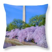 Tidal Basin And Washington Monument With Cherry Blossoms Vertical Throw Pillow