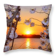 Tidal Basin Sunset With Cherry Blossoms Throw Pillow