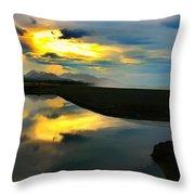 Tidal Pond Sunset New Zealand Throw Pillow