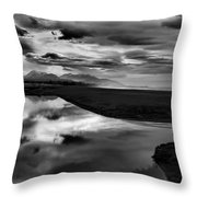 Tidal Pond Sunset New Zealand In Black And White Throw Pillow