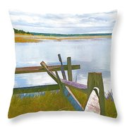 Tide And Fence Oil Throw Pillow