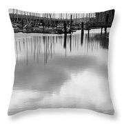 Tide Flats Marina Throw Pillow
