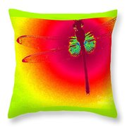 Tie Dye Dragonfly Throw Pillow