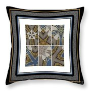 Tied To My Concrete Garden - Kaleidoscope - Hexaptych Throw Pillow