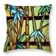 Stained Glass Tiffany Bamboo Panel Throw Pillow