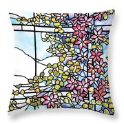 Stained Glass Tiffany Floral Skylight - Fenway Gate Throw Pillow