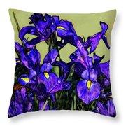 Tiffany Style Blue Iris Throw Pillow