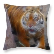 Tiger-5362-fractal Throw Pillow