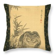 Tiger And Bamboo Throw Pillow