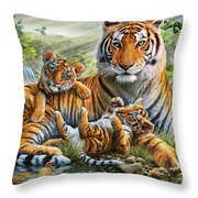 Tiger And Cubs Throw Pillow by Adrian Chesterman