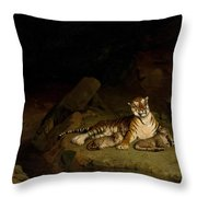 Tiger And Cubs Throw Pillow