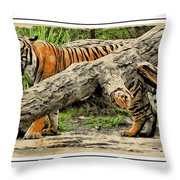 Tiger By The Log Throw Pillow