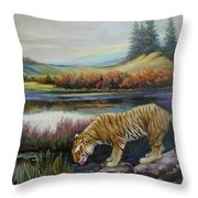 Tiger By The River Throw Pillow by Svitozar Nenyuk