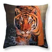 Tiger Crossing Water Throw Pillow