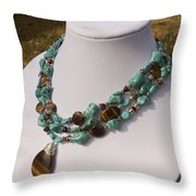 Tiger Eye And Turquoise Triple Strand Necklace 3640 Throw Pillow