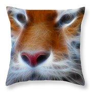 Tiger Face Fractal Throw Pillow