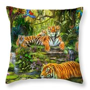 Tiger Family At The Pool Throw Pillow