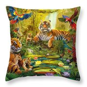Tiger Family In The Jungle Throw Pillow by Jan Patrik Krasny