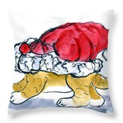 Tiger Gets Stuck In A Santa Hat Throw Pillow