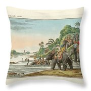 Tiger Hunting On An Indian River Throw Pillow