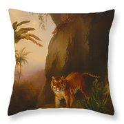 Tiger In A Cave Throw Pillow