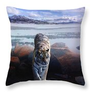 Tiger In A Lake Throw Pillow