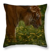 Tiger In The Midst Of Buttercups Throw Pillow