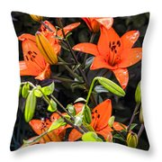 Tiger Lily After The Rain Throw Pillow