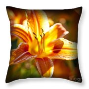 Tiger Lily Flower Throw Pillow