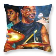 Tiger On Drums Throw Pillow