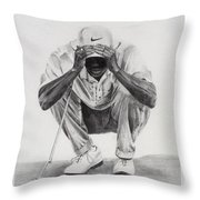 Tiger Putting Throw Pillow by Devin Millington