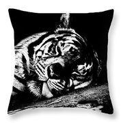 Tiger R And R Black And White Throw Pillow