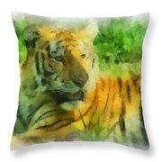 Tiger Resting Photo Art 01 Throw Pillow